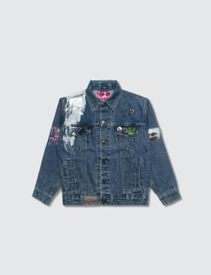 Hey Babe Hand Painted Denim Collage Jacket
