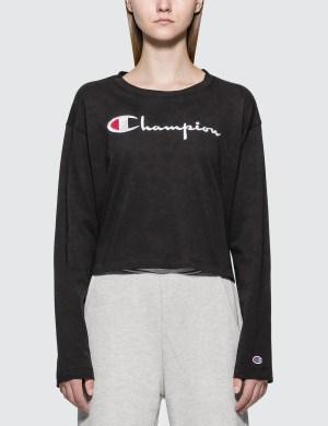 Champion Reverse Weave Big Script Long Sleeve Cropped T-shirt