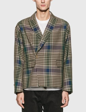 JieDa Check Double Tailored Jacket