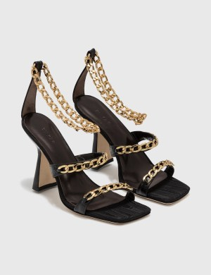 BY FAR Gina Black Creased Leather Sandal