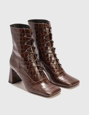 BY FAR Claude Nutella Croco Embossed Leather Boot