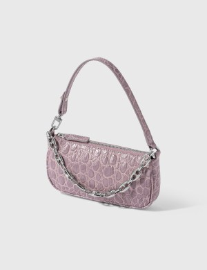 BY FAR Mini Rachel Lilac Croco Embossed Leather Bag