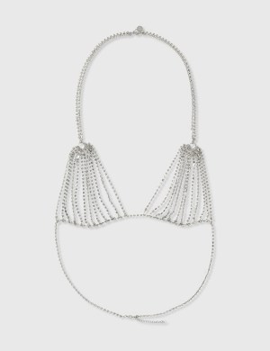 Random Identities Crystal Bra Necklace