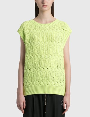 We11done Lace Knit Round Neck Vest