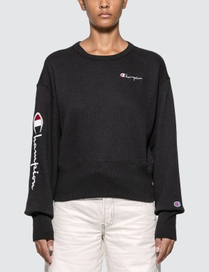 Champion Reverse Weave Big Sleeve Script Cropped Sweatshirt