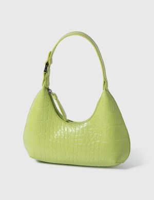 BY FAR Baby Amber Matcha Croco Embossed Leather