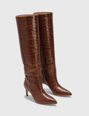 Paris Texas Embossed Croc Mid Heel Boot