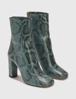 Paris Texas Python Printed Leather Block Heel Mid Calf Boot