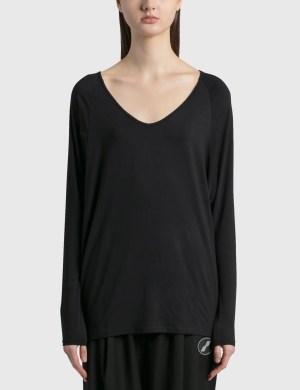 Random Identities Drapey V Neck Long Sleeve T-Shirt