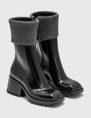 Chlo Betty Rain Boots With Knit