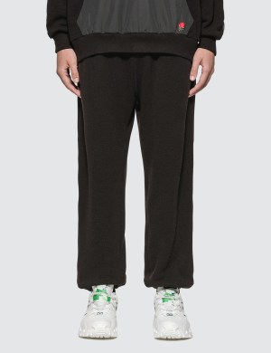 Undercover Nylon-Panelled Embroidered Rose Print Pants