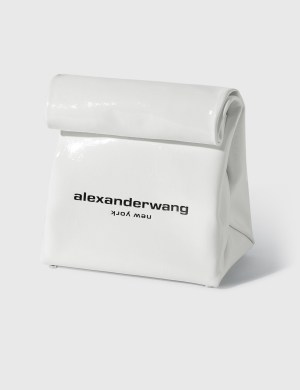 Alexander Wang Lunch Bag Clutch - White Patent Leather