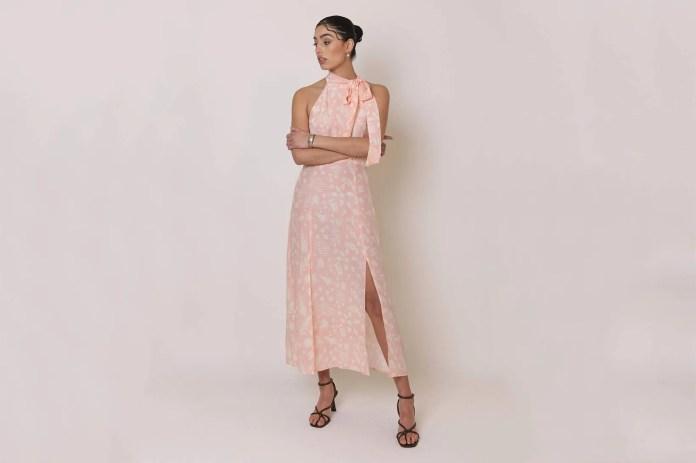 Rixo bridesmaid dress pink bouquet