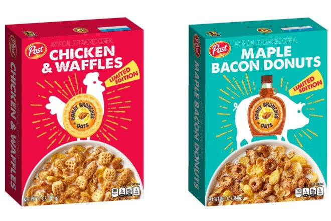 "Post Consumer Brand Honey Bunches of Oars ""Chicken and Waffles"" Maple Bacon Donuts Cereal National Cereal Day"