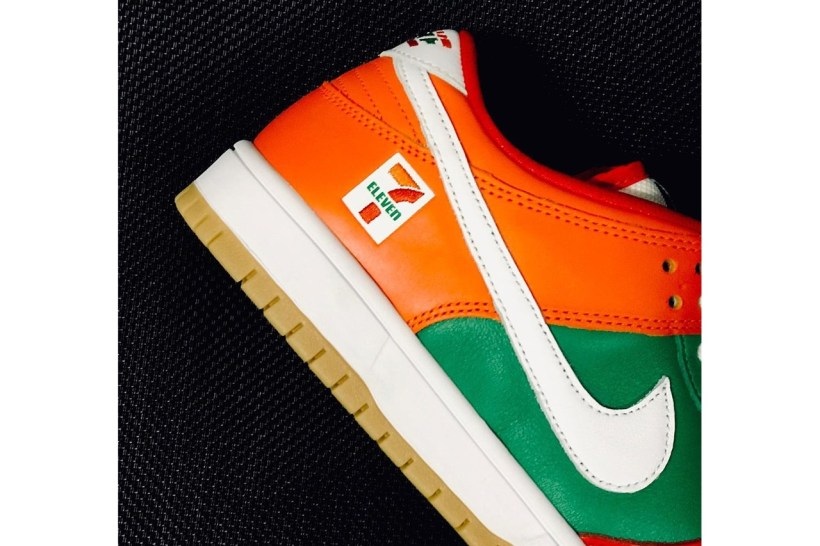 7 eleven 11 nike sb dunk low orange green red white gum first look release date info photos price