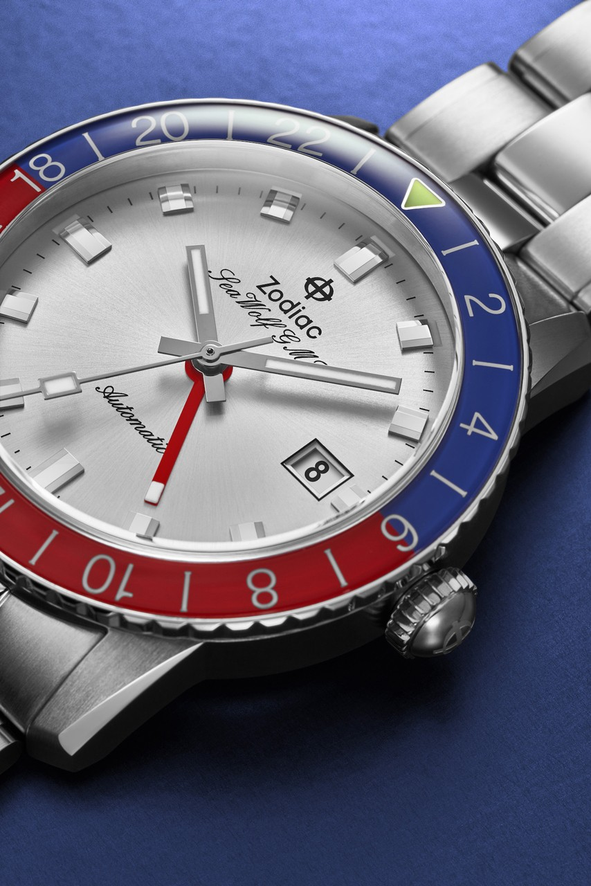 zodiac watches sea wolf gmt crystal blue red silver topper 182 units official release date info photos price store list buying guide