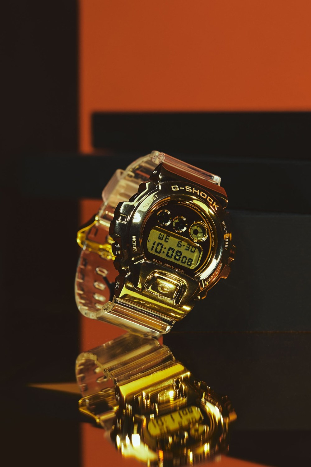 """""""Glacier Gold"""" series 2018, metal finishings, each watch's resin build with gold and silver embellishments, stainless steel bezels, ion plating, multiple stages of forging and polishing, signature feature, date calendar and backlight, shock-proof, shock resist, gold colorways, silver iterations w/ camo pattern, 200-meter waterproofing, world clock, stopwatch, timer and alarm clock"""