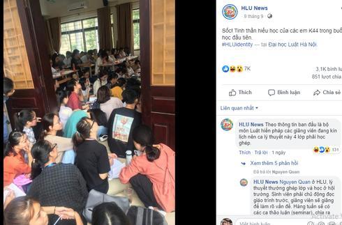 Bức ảnh sinh viên ĐH Luật ngồi học chật kín hành lang gây 'bão' mạng xã hội - 1