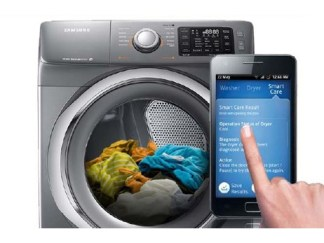Smart phone feature washer and dryer