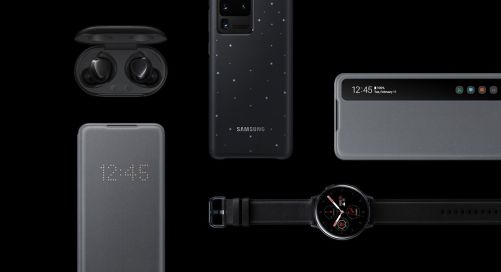 A flat lay of several Galaxy accessories including Galaxy Buds plus, the Smart LED View Cover, the Smart LED Cover, the Smart Clear View Cover, and Galaxy Watch Active2