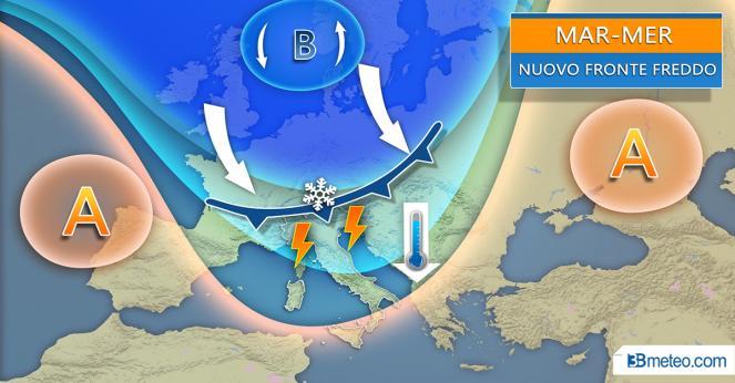 Fronte freddo in arrivo dal Nord Europa