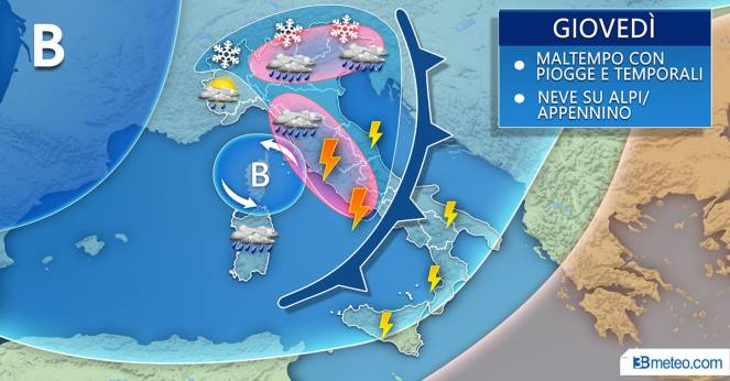 Meteo Italia: giovedì fase clou del maltempo