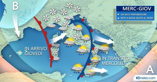 Meteo Italia: perturbazione tra mercoledì e giovedì