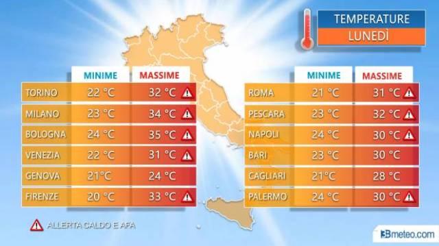 Temperature massime nelle principali città nella giornata di lunedì