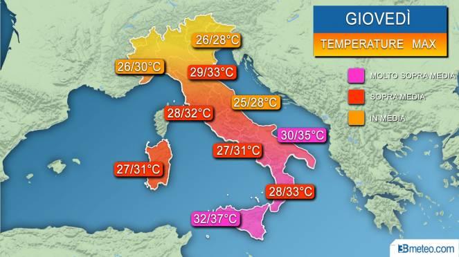 Temperature massime previste giovedì