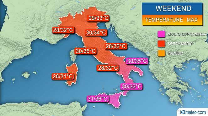 Temperature massime previste nel weekend