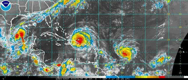 There are three hurricanes in the Atlantic on Thursday morning. Katia is in the southern Gulf, Irma is moving north of Hispaniola and Jose is east of the Leeward Islands. All three storms pose a threat to land. (National Weather Service)