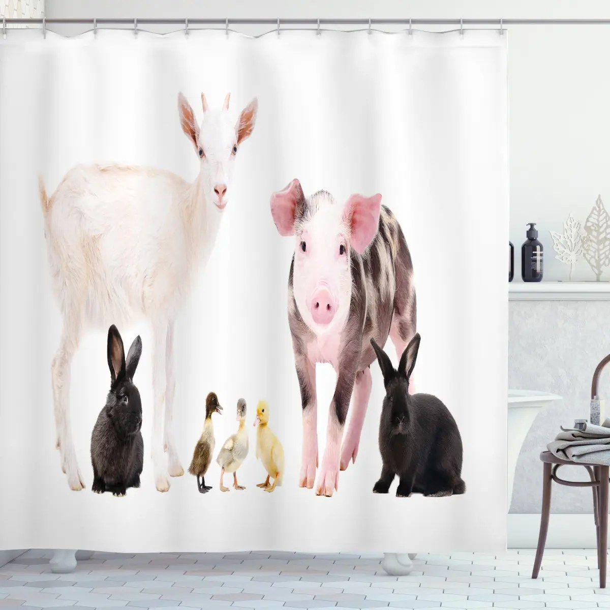 ducks pig goat bunnies shower curtain