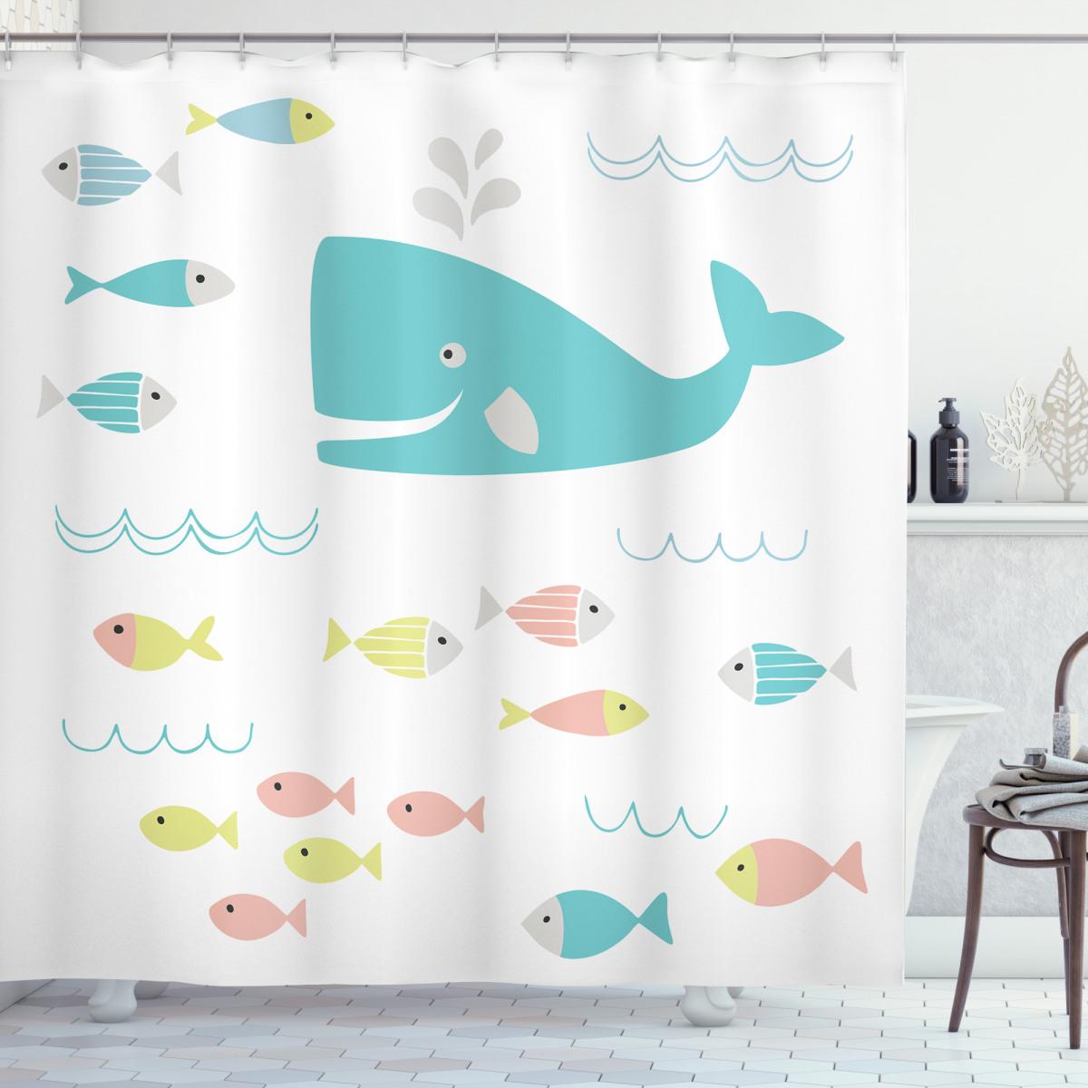 geometric whale fish shower curtain