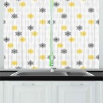 Grey And Yellow Kitchen Curtains 2 Panel Set Window Drapes 55 034 X 39 034