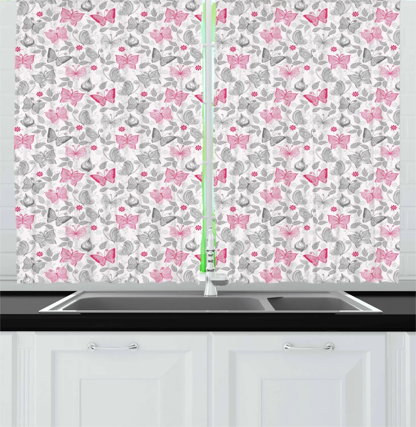 Butterfly Kitchen Curtains 2 Panel Set Window D S 55 X