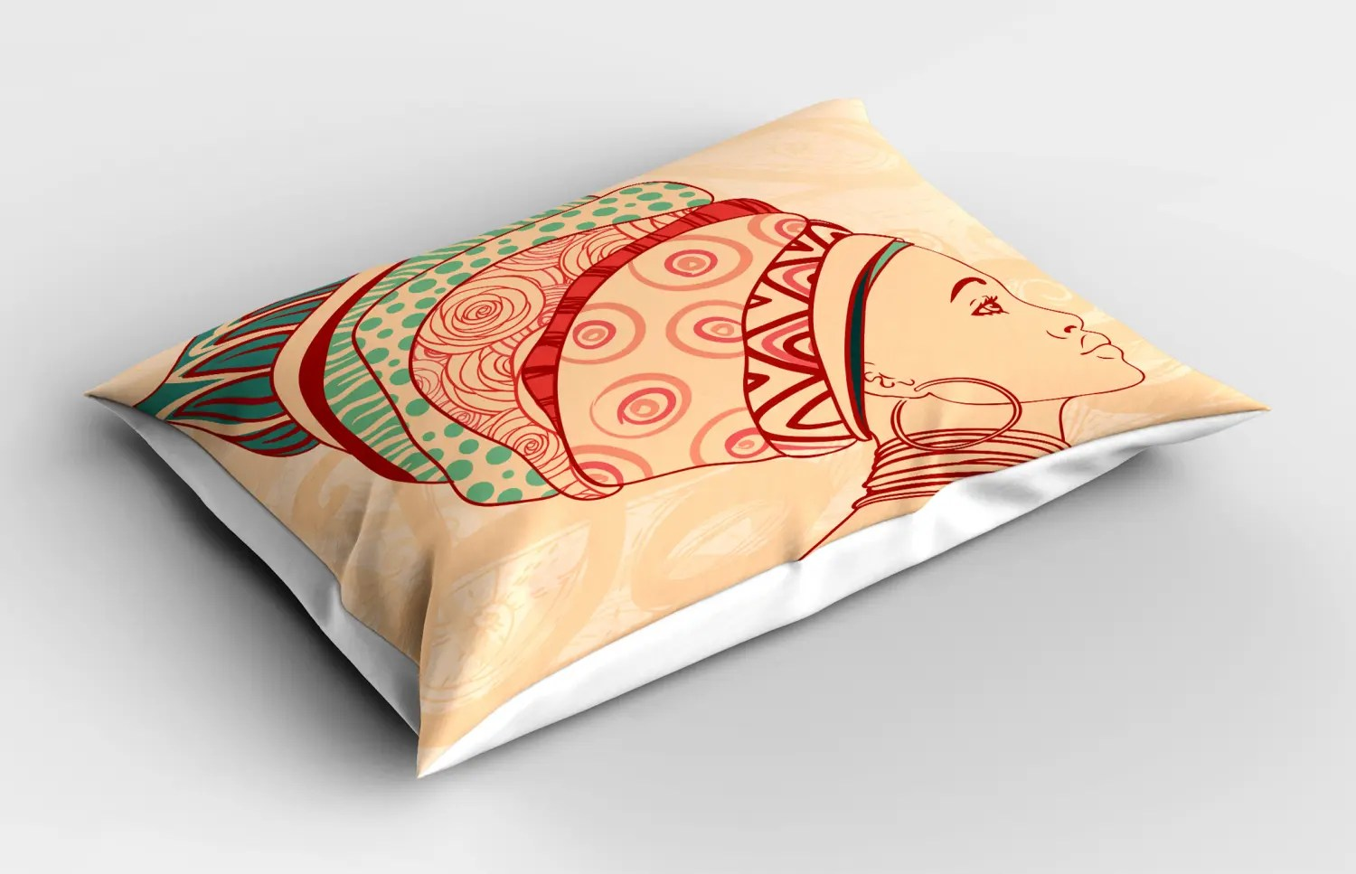 African Woman Pillow Sham Decorative Pillowcase 3 Sizes