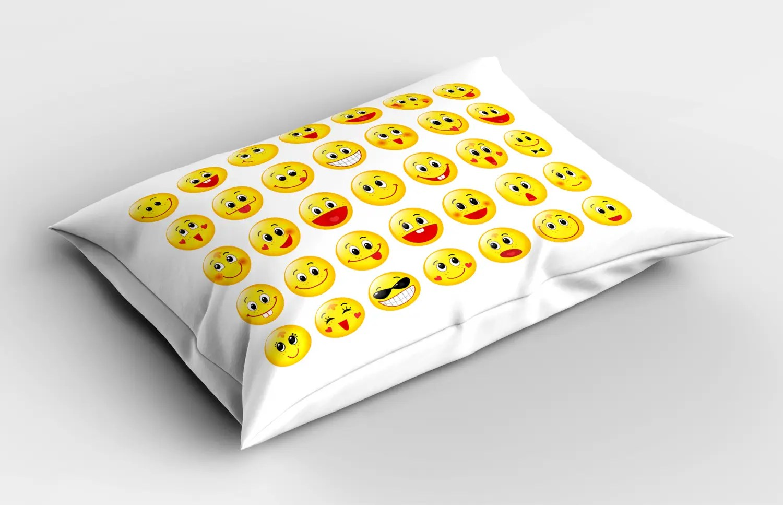 Cartoon Emoji Pillow Sham Decorative Pillowcase 3 Sizes