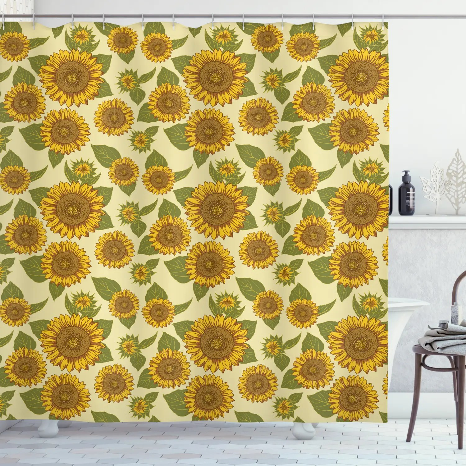 details about pattern sunflowers country style vintage home decor print shower curtain set