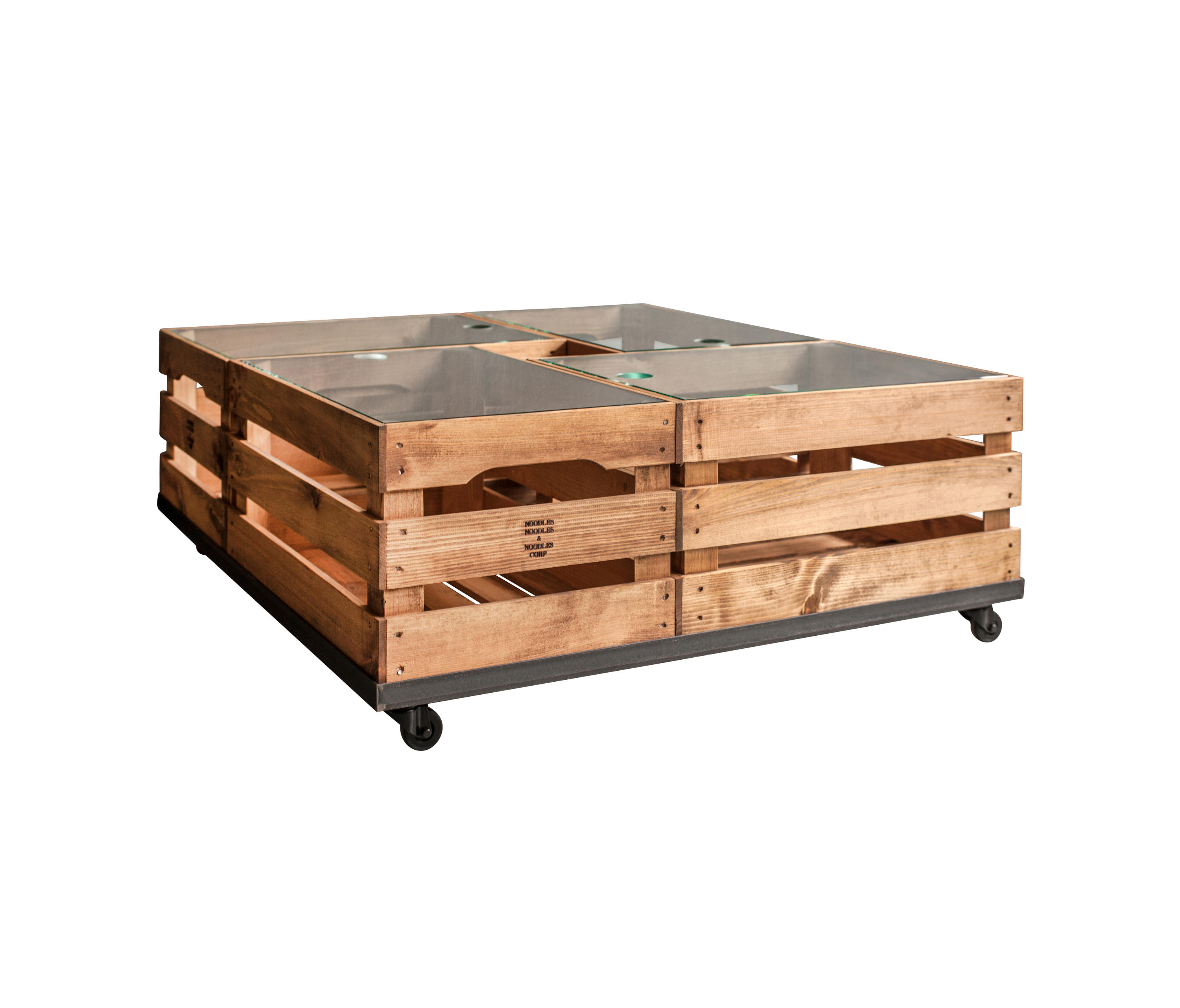 wooden crates glass table on wheels
