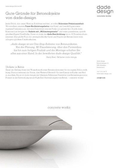 DADE DESIGN AG CONCRETE WORKS BETON Produkte, Kollektionen & mehr