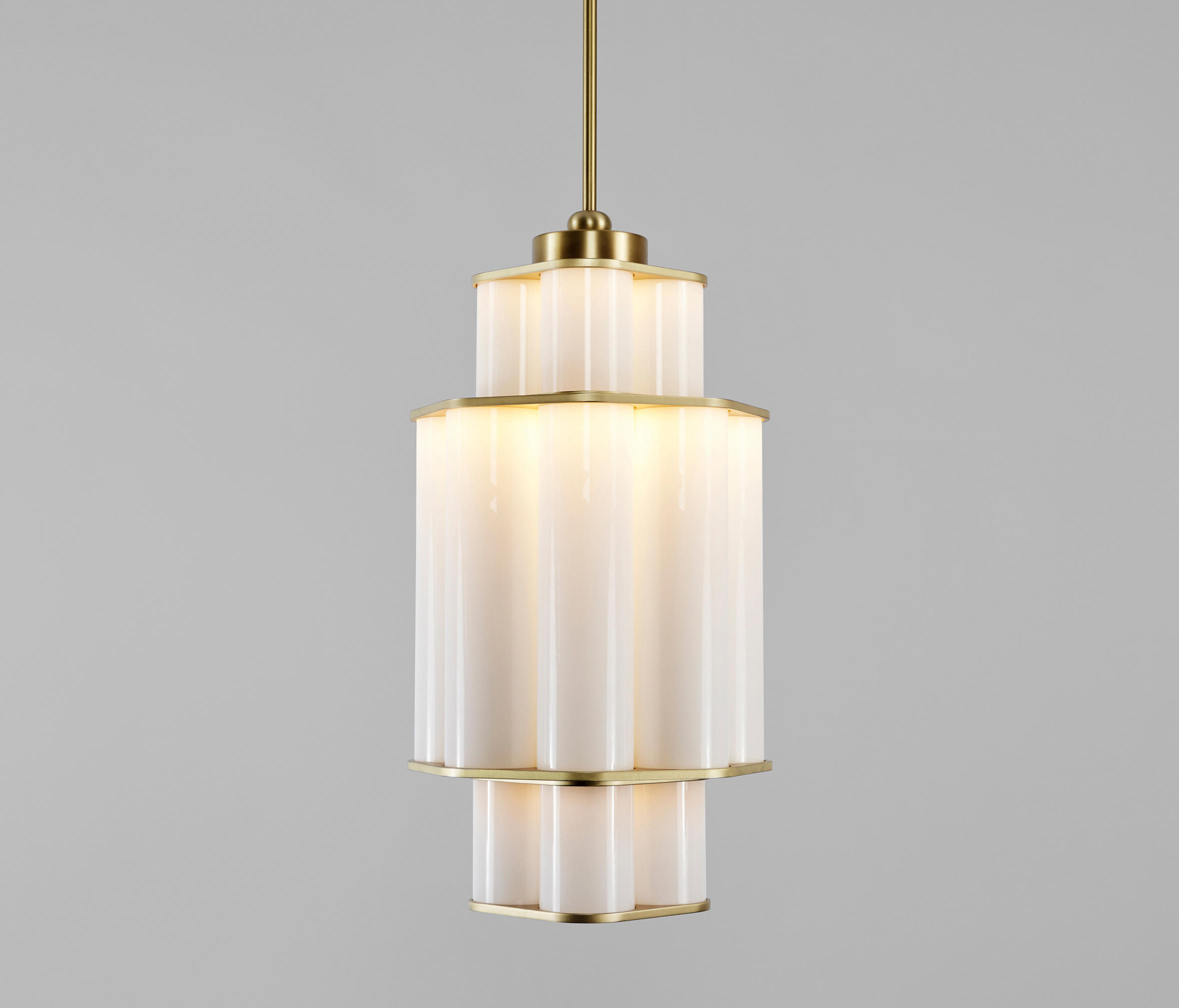 bauer chandelier 01 white brushed brass architonic