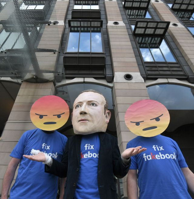 Demonstrators protesting over Facebook's practices