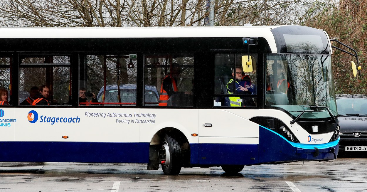 The bus is being trialled at the Stagecoach depot in Sharston, Manchester (Peter Byrne/PA)
