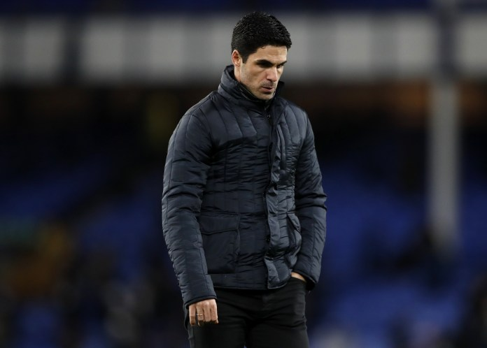 Arsenal manager Mikel Arteta appears frustrated on the touchline