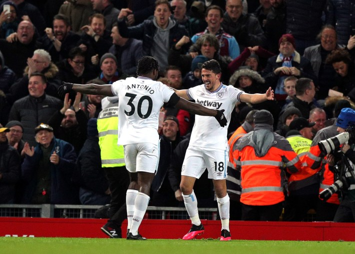 Pablo Fornals, right, had silenced Anfield early in the second half
