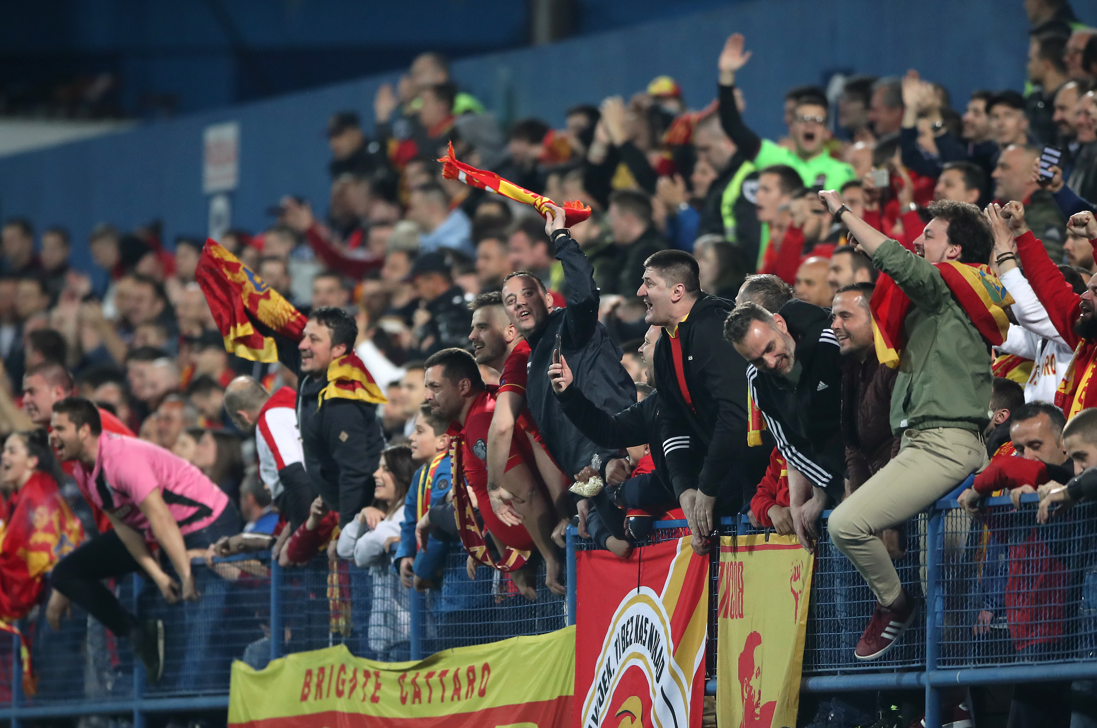 Montenegro fans during the Euro 2020 qualifier against England