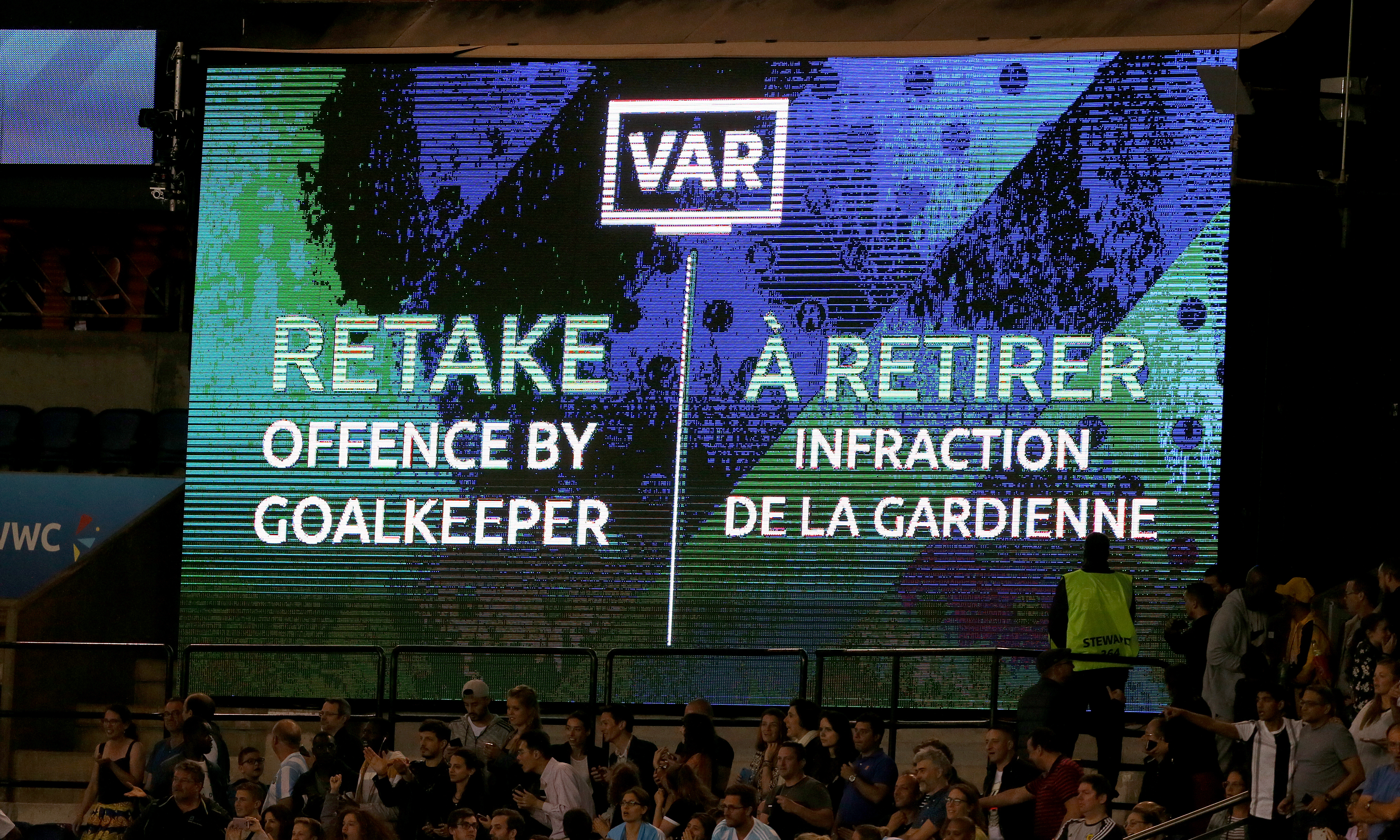 The VAR screen showing that Argentina's penalty was to be retaken