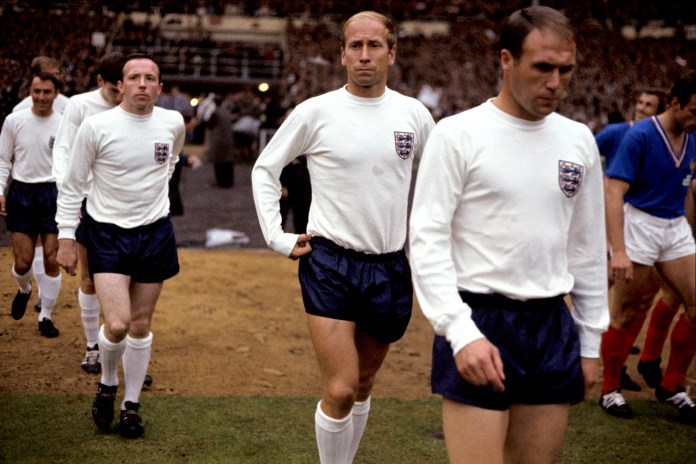 Former England and Manchester United team-mates Sir Bobby Charlton (second from right) and the late Nobby Stiles (third from right) have been affected by dementia