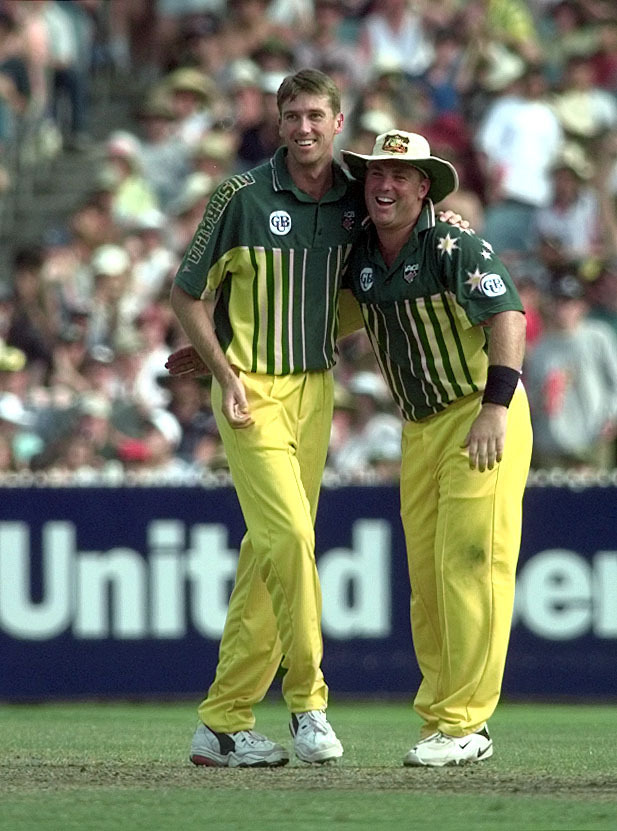 Glenn McGrath, left, and Shane Warne shared five wickets in Melbourne (Ben Curtis/PA)