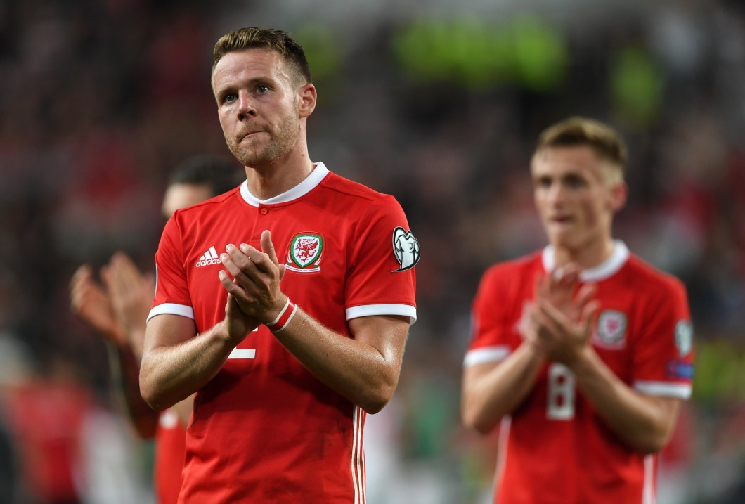 Chris Gunter applauds fans after the game